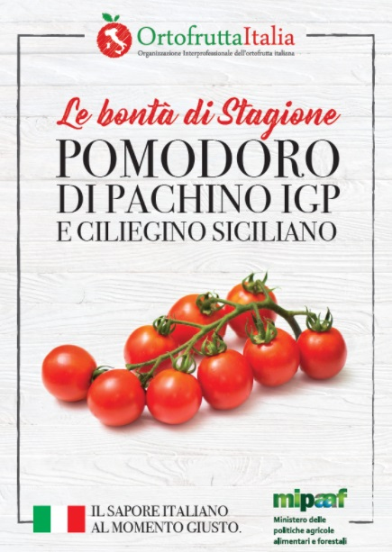 La locandina della campagna su Pomodoro Pachino Igp e Ciliegino siciliano lanciata dal Mipaaf.