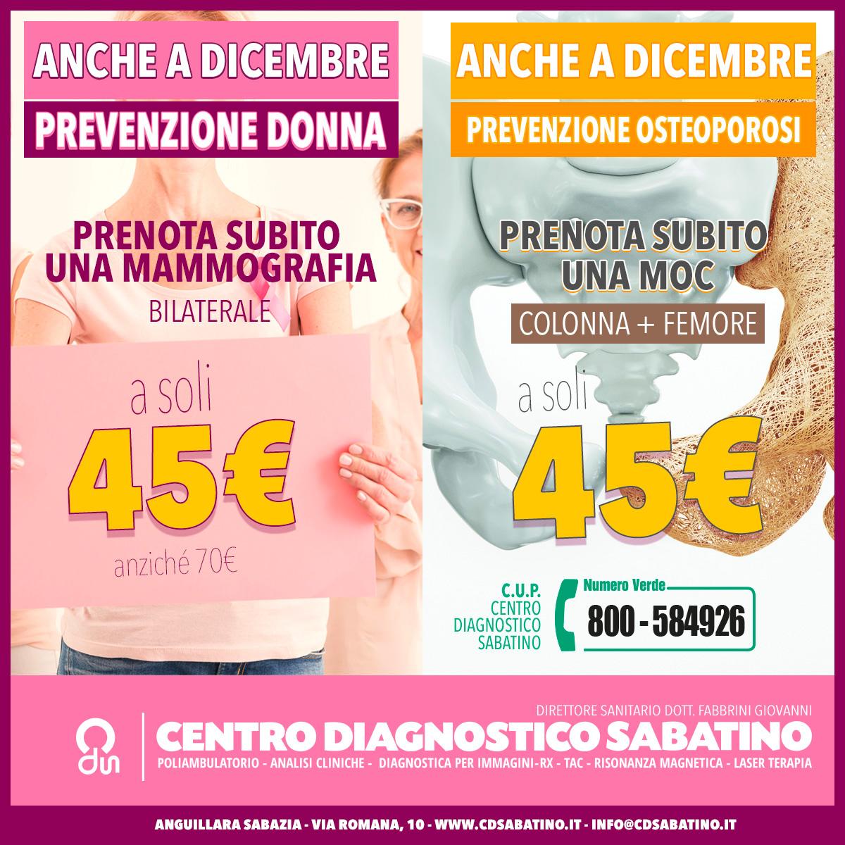 """""""promozione moc e mammografia a soli 45 euro ciascuna"""