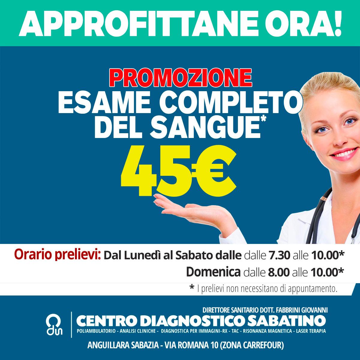 """""""promozione esame check up del sangue per 35 euro"""